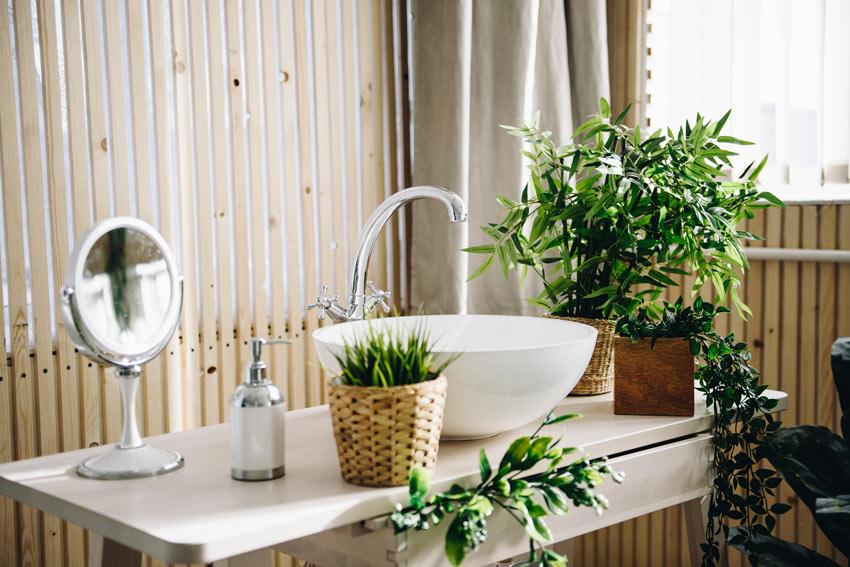 piante artificiali idee per decorare il bagno