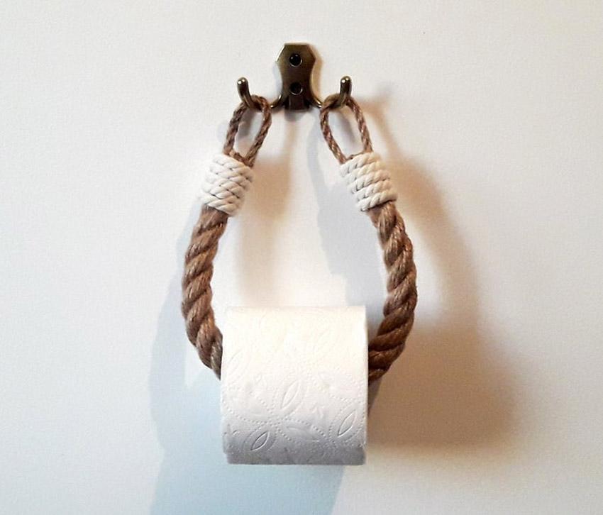 Porta rotoli fai da te con corda