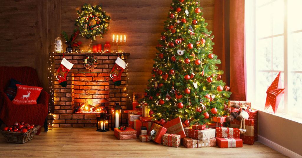 Decorazioni natalizie per il salotto.