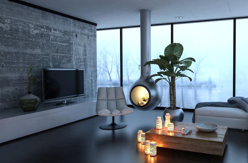 Soggiorno moderno con tavolino pieno di candele.