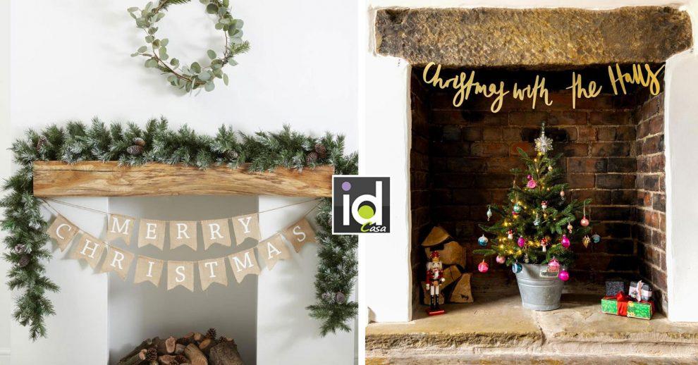 Decorazioni natalizie per il camino