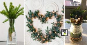 Decorazioni invernali con rami di pino