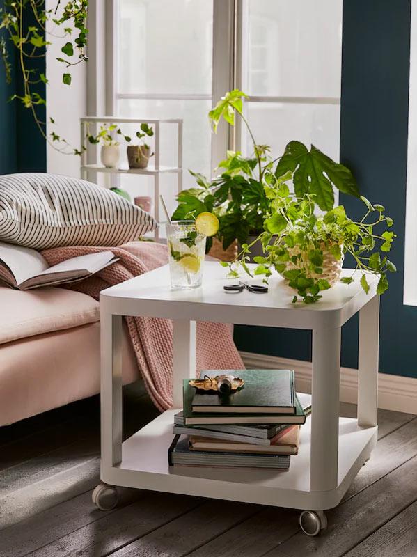 Tavolino da salotto IKEA con piante.