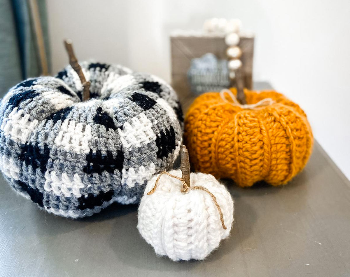 zucche ornamentali in lana