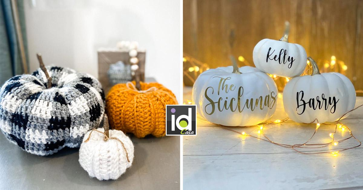 zucche decorative per decorare la casa in autunno.