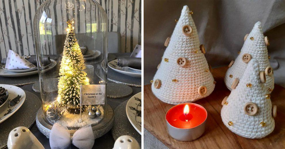 Un alberello di Natale come centrotavola