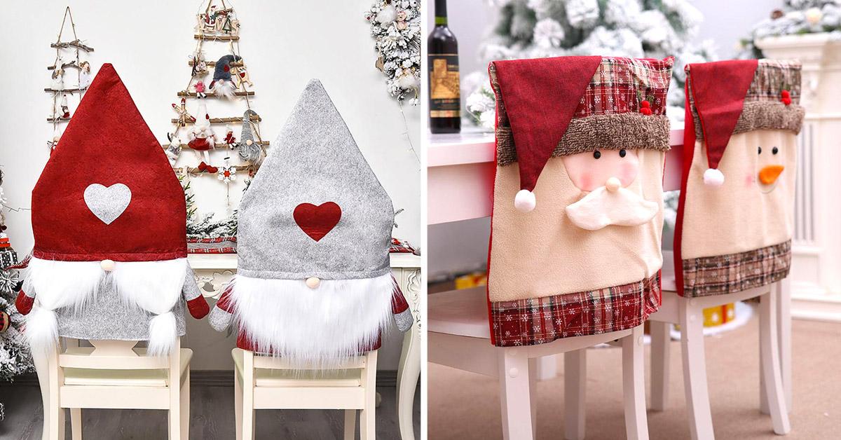 copri sedie natalizie per un look festivo in casa