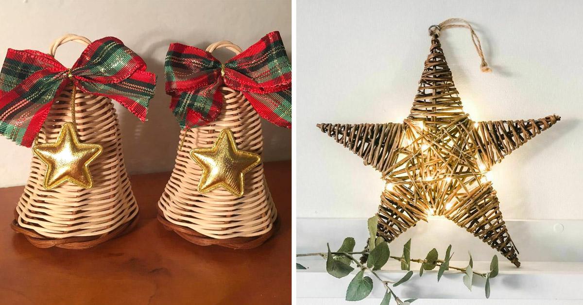 decorazioni in vimini per Natale
