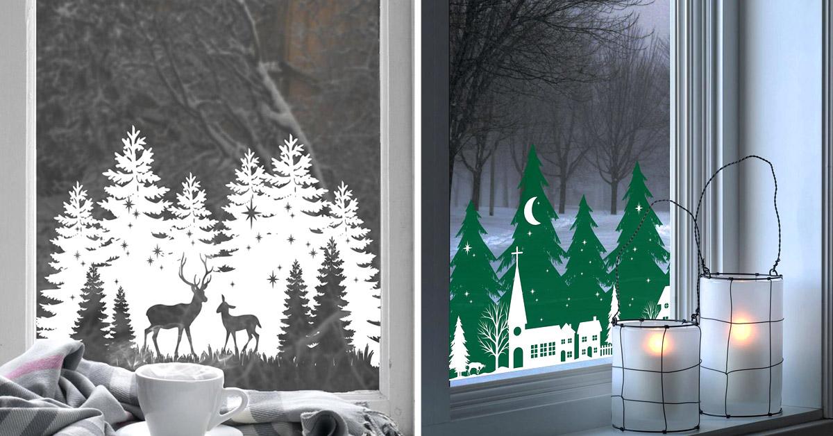 Idee per decorare le finestre con gli adesivi a Natale.