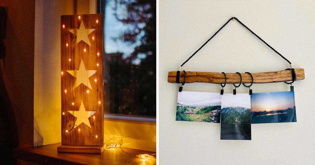 Decorazioni in legno fai da te.