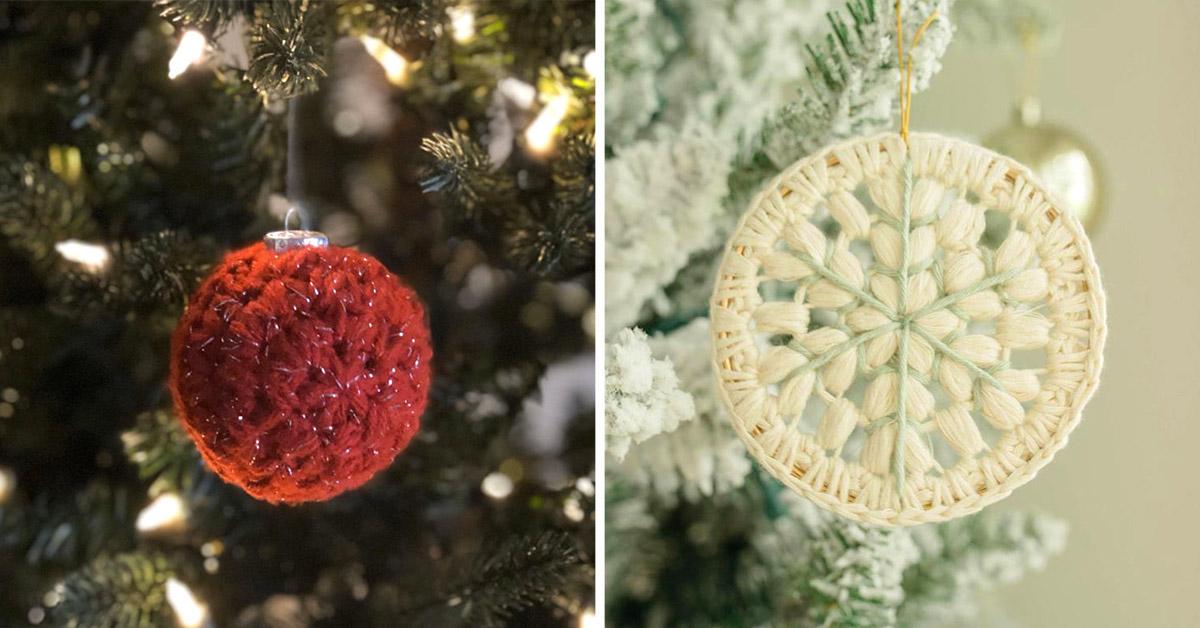 decorazioni all'uncinetto per l'albero di Natale