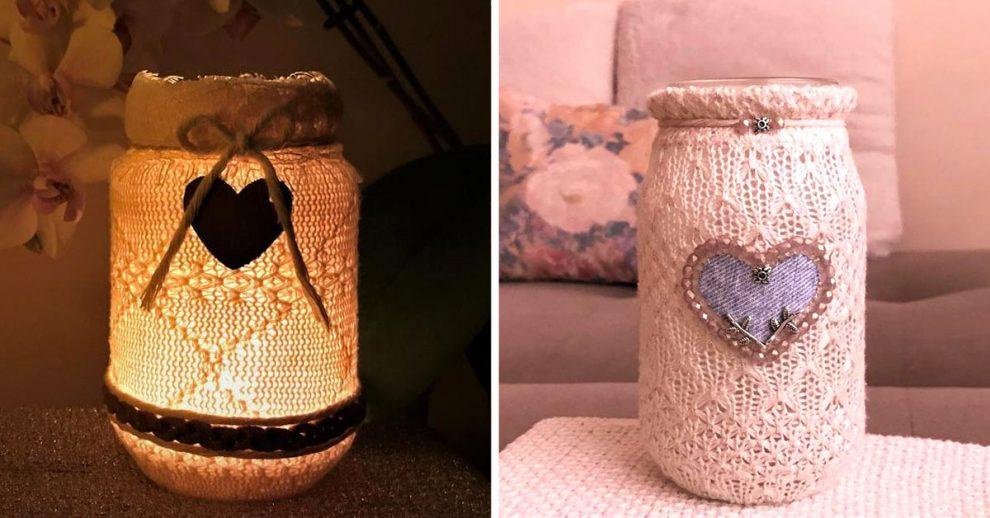 Lanterne shabby chic fai da te con barattoli di vetro recuperati