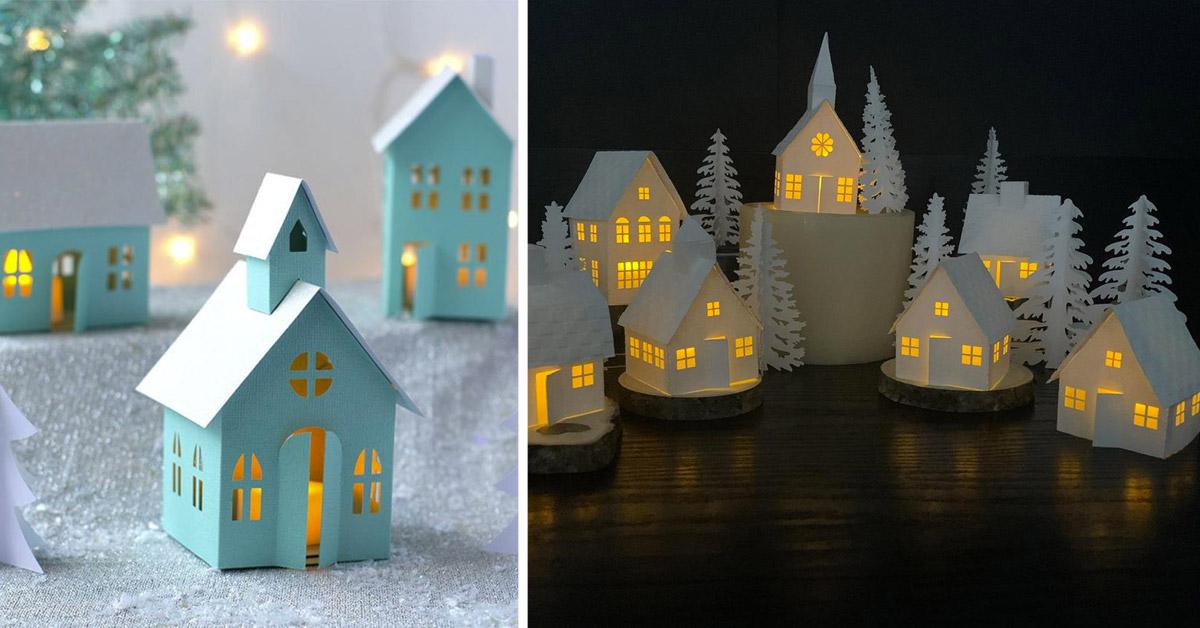 villaggio natalizio fai da te di carta