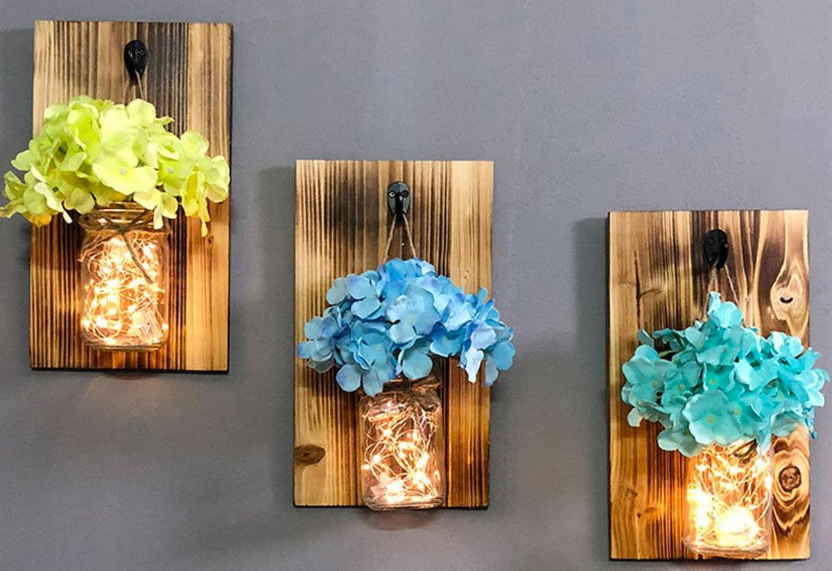 Vaso di fiori luminoso recuperando i barattoli