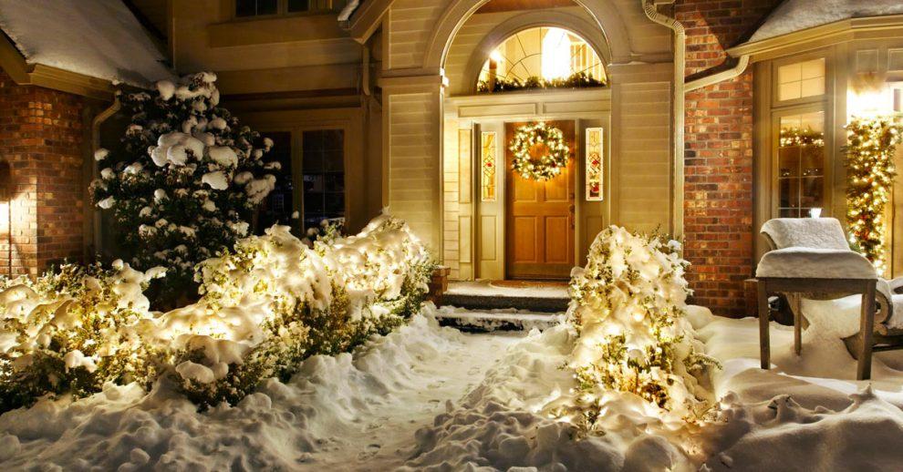 Natale illuminazione giardino.