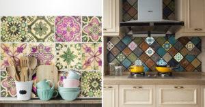 Piastrelle adesive stile provenzale in cucina