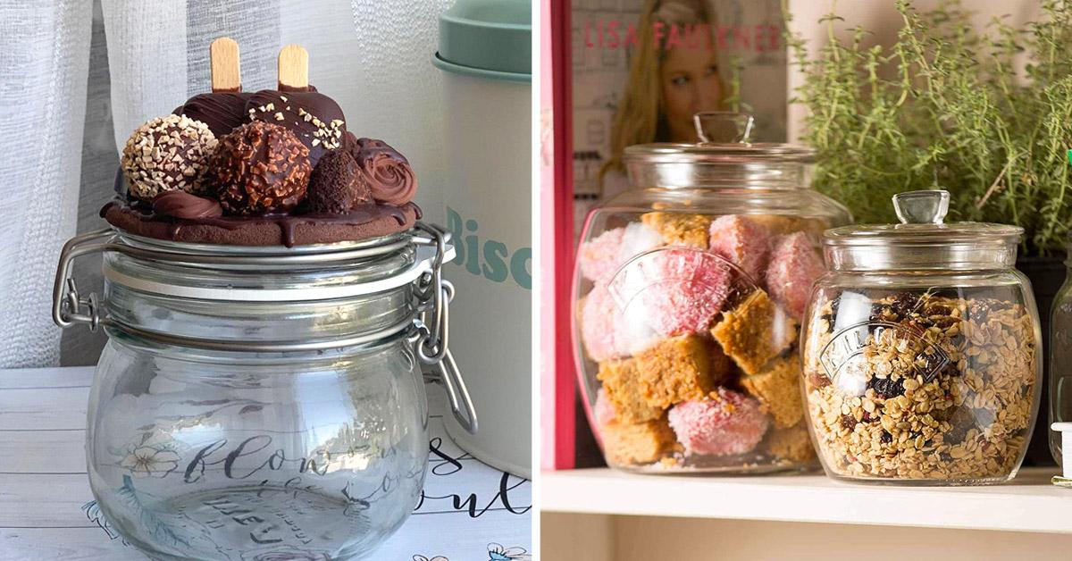 Porta biscotti in vetro
