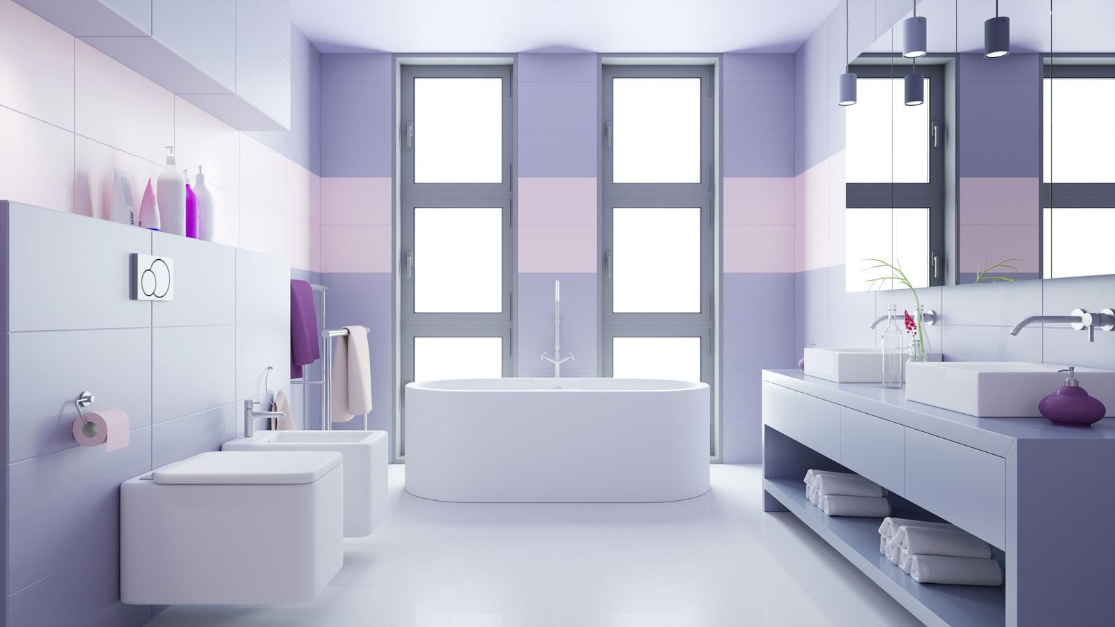 Color malva in bagno.