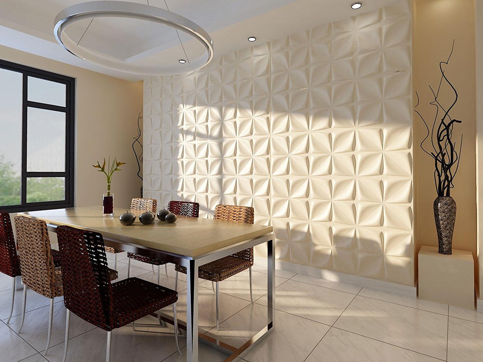Pannelli decorativi per delle pareti particolari in soggiorno.