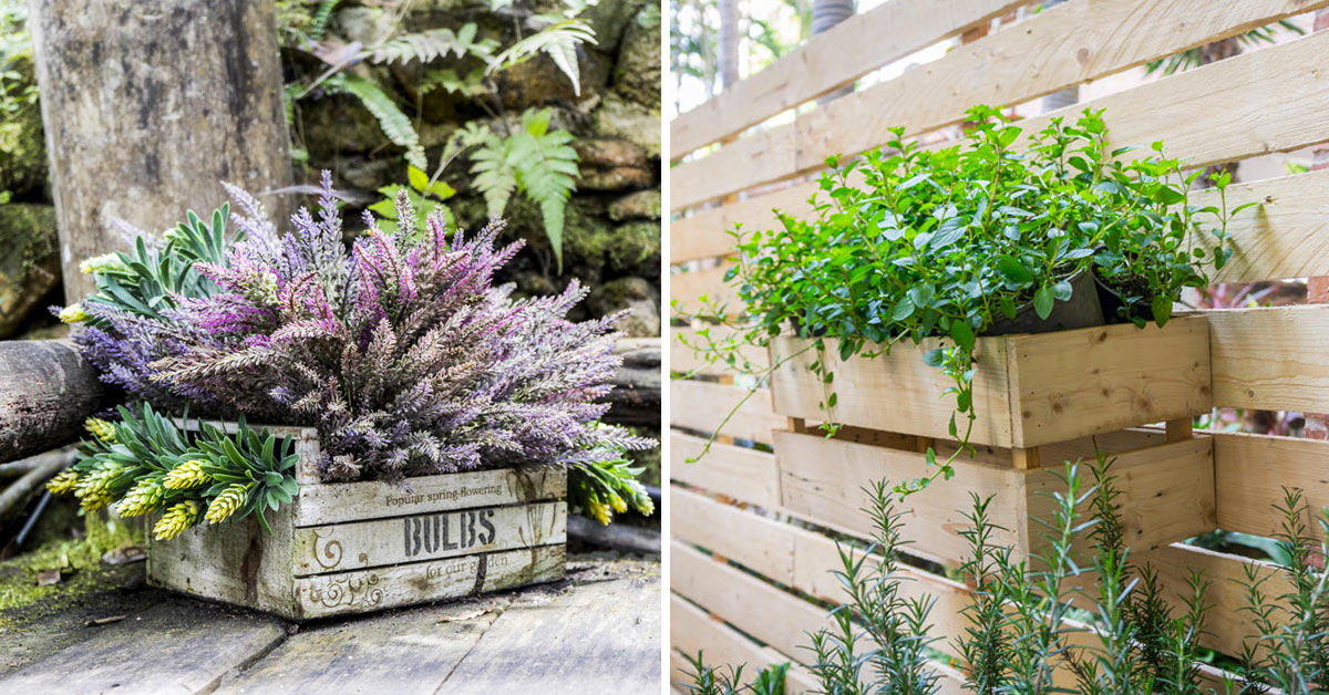 Arredare balcone e giardino con le cassette di legno