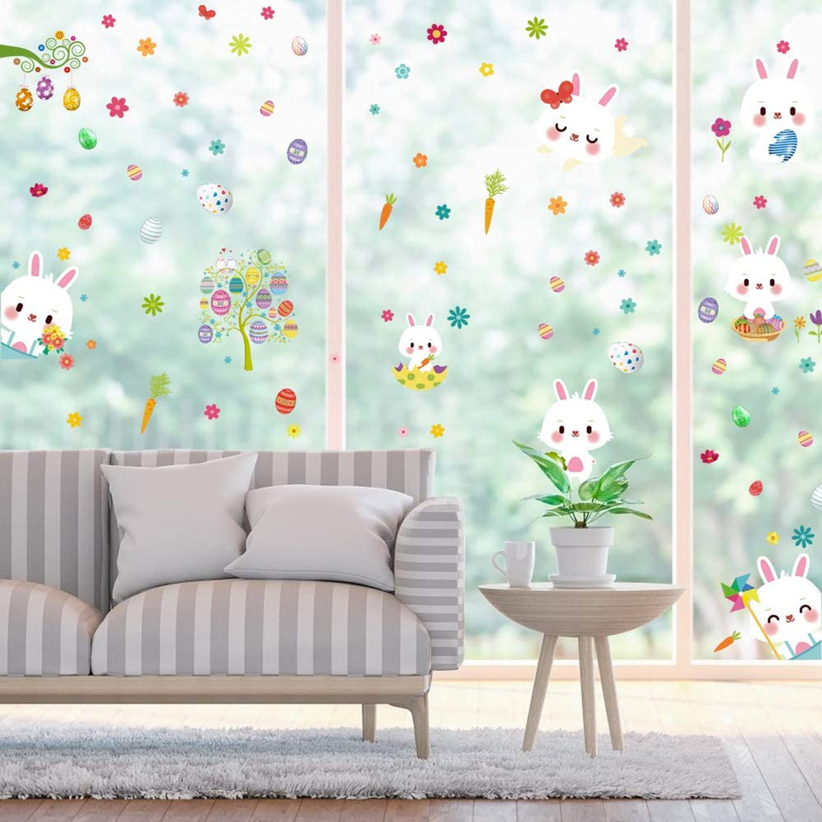Decorazioni finestre per Pasqua con adesivi.