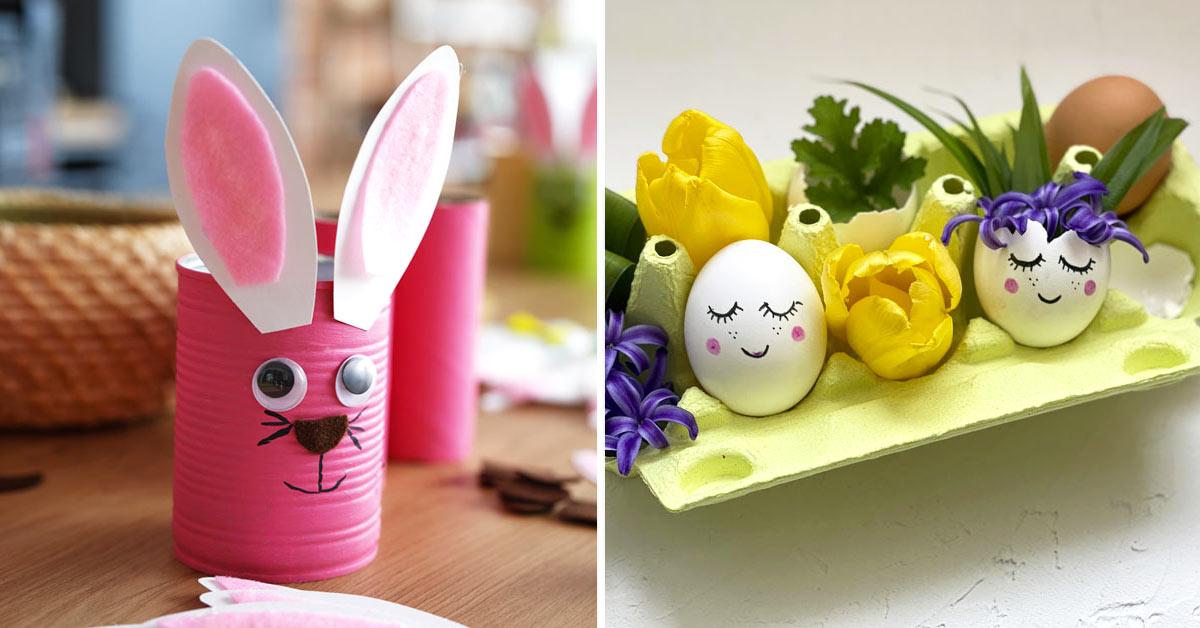 idee di riciclo per decorare a Pasqua.
