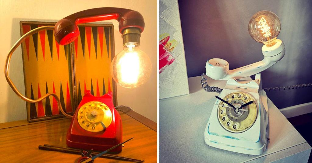 lampada particolare per la casa con il riciclo di un vecchio telefono