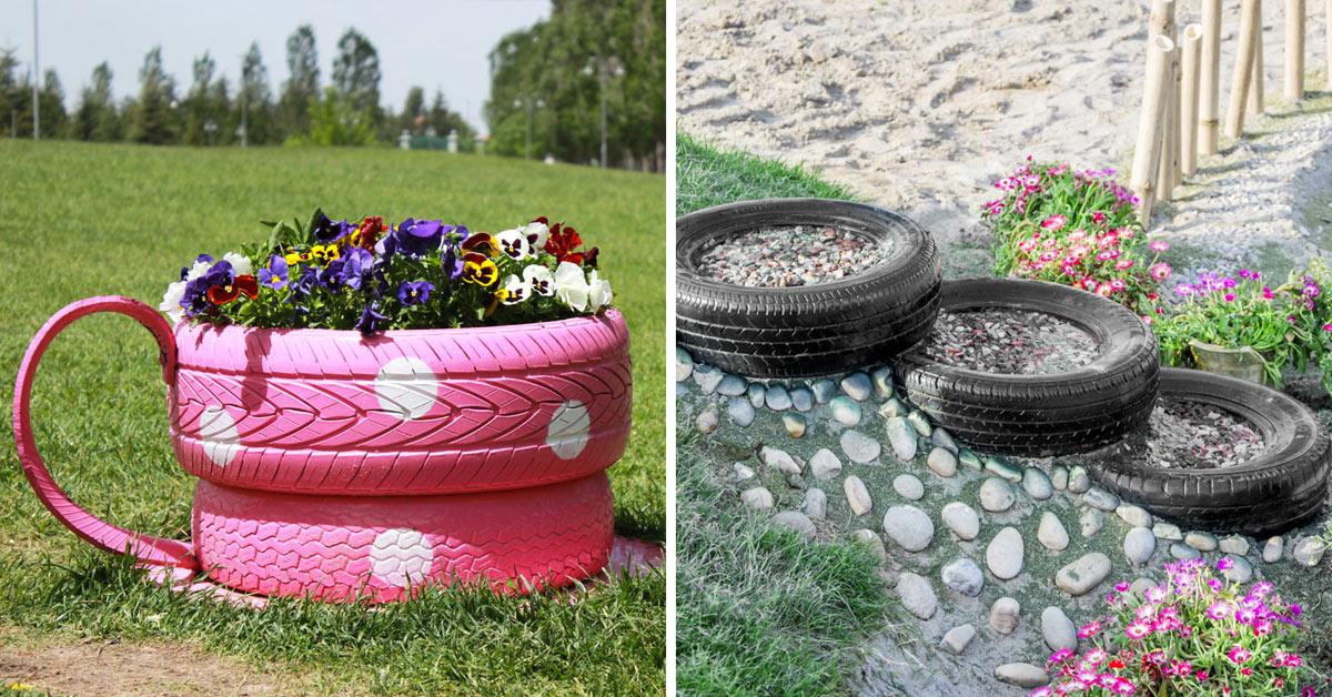 riciclare uno pneumatico e riusarlo in giardino