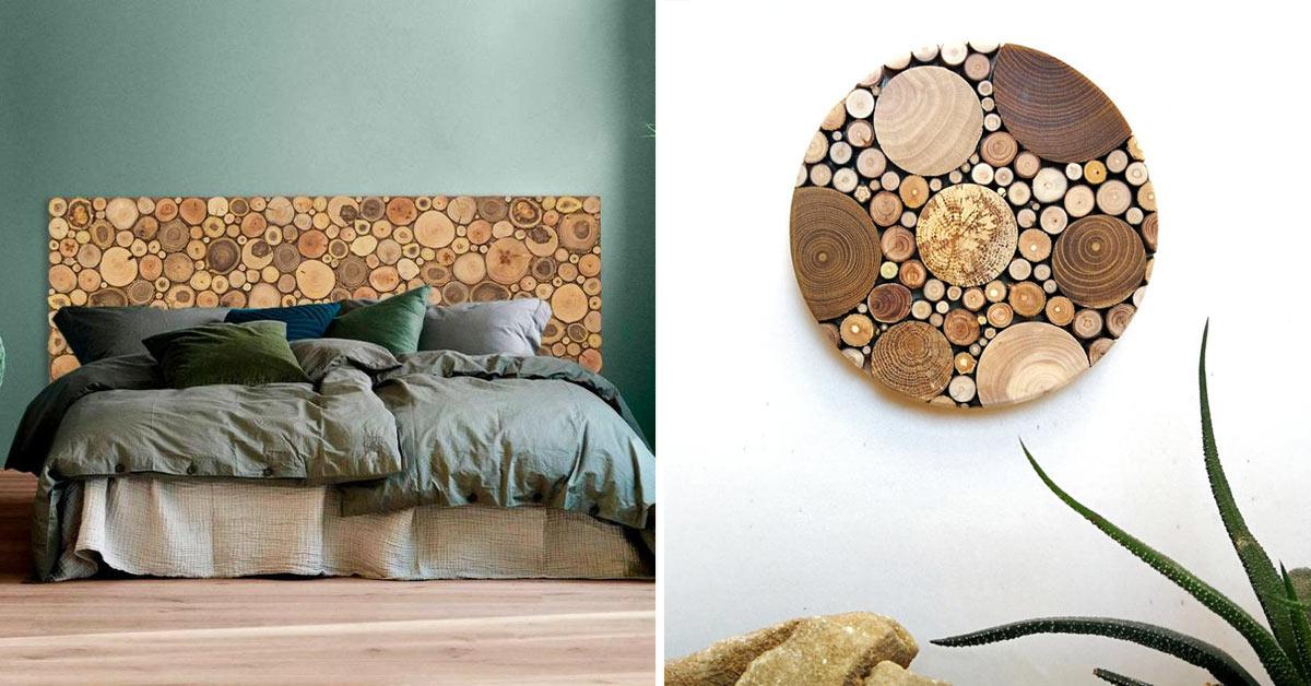 Creazioni fai da te con rondelle di legno.