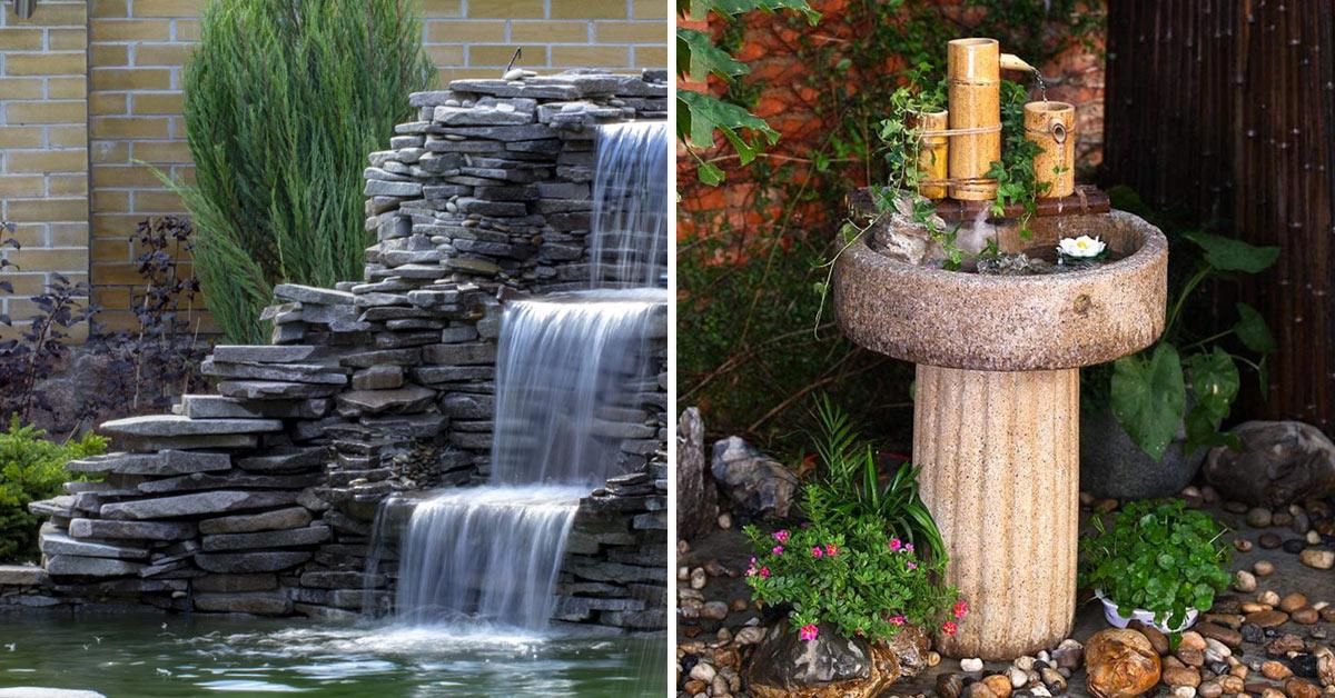 Fontana in pietra giardino.