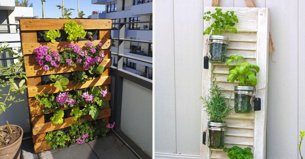 giardino verticale balcone riciclo