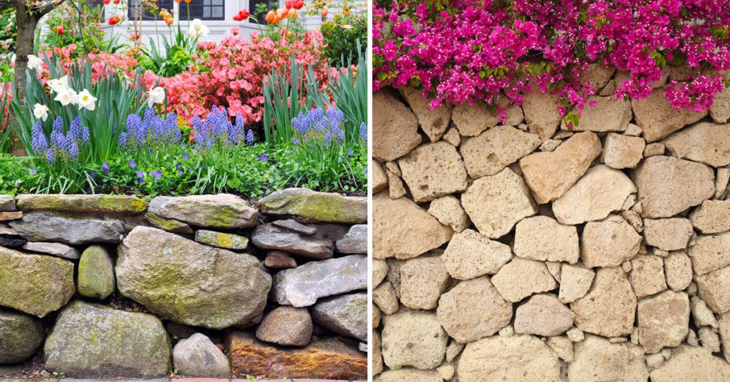 Muri in pietra naturale giardino.