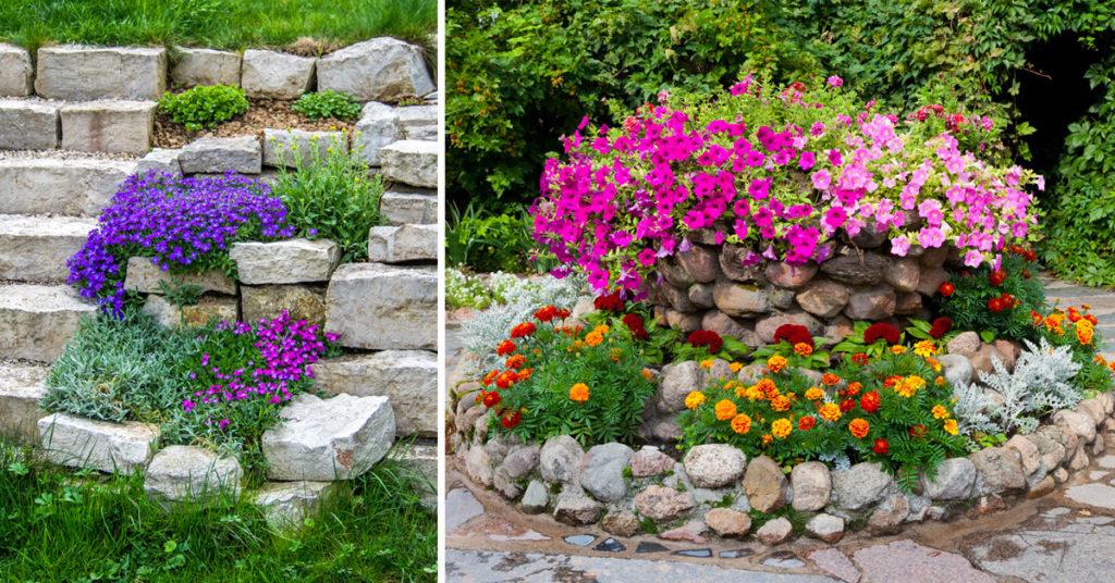 Giardino muretti in pietra aiuole.