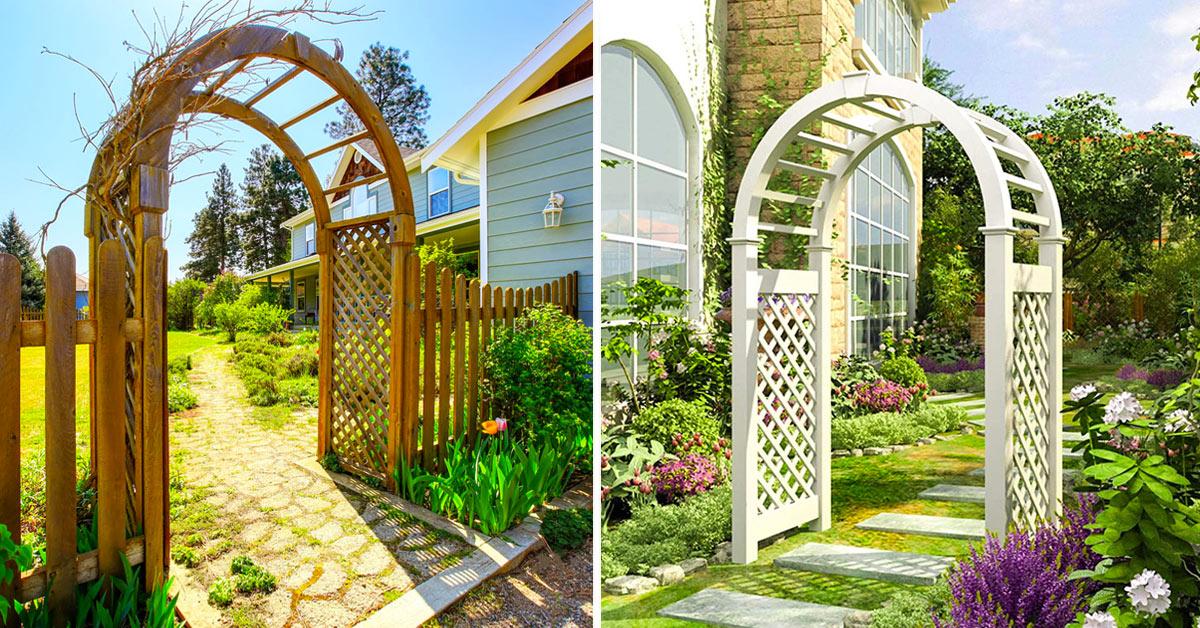 Arco in legno in giardino.