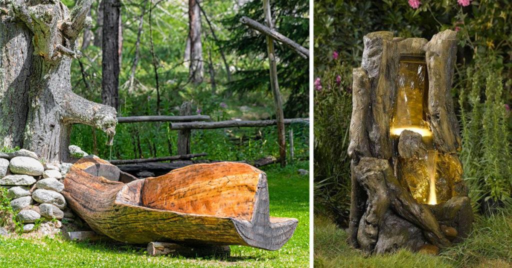 fontana in legno fai da te in giardino