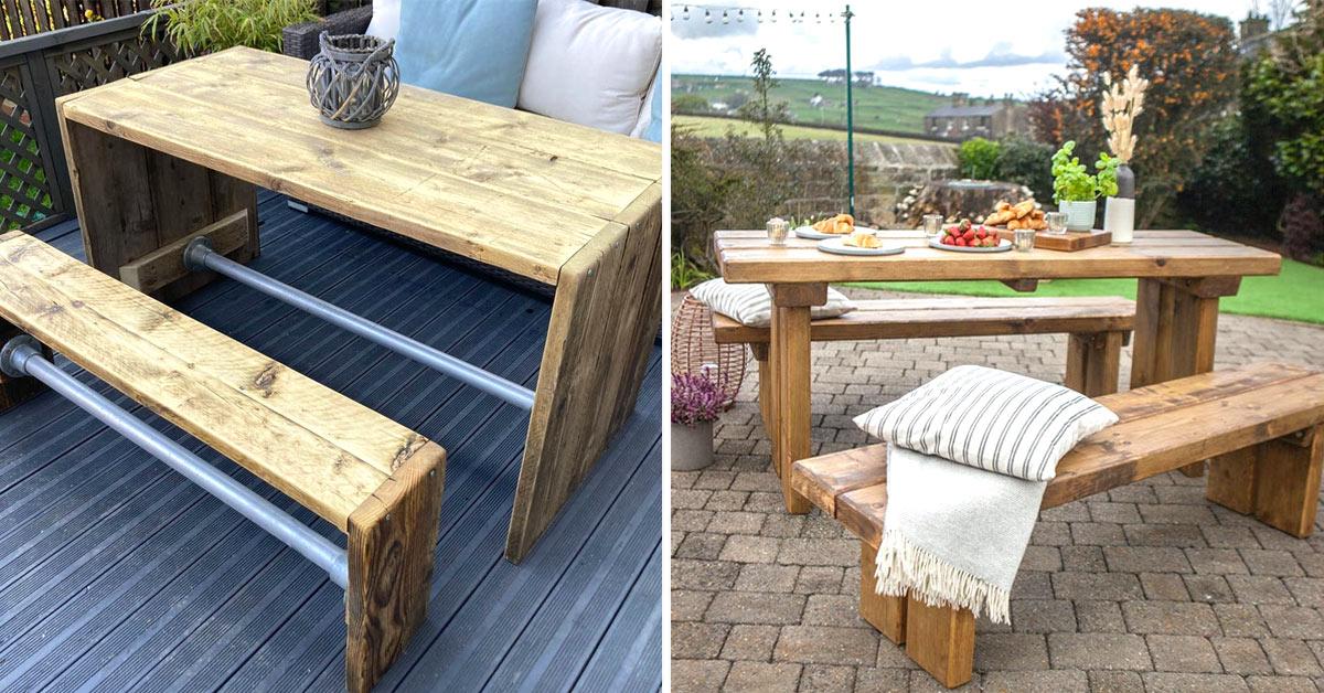 Tavolini da giardino in legno.