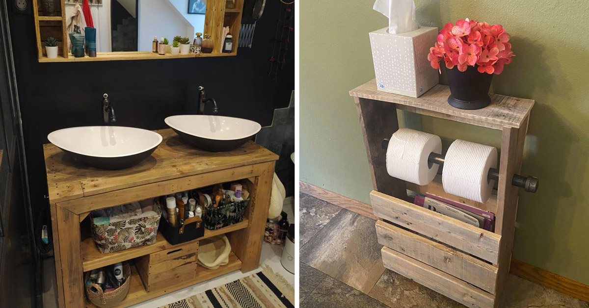 Arredare il bagno recuperando i bancali di legno.