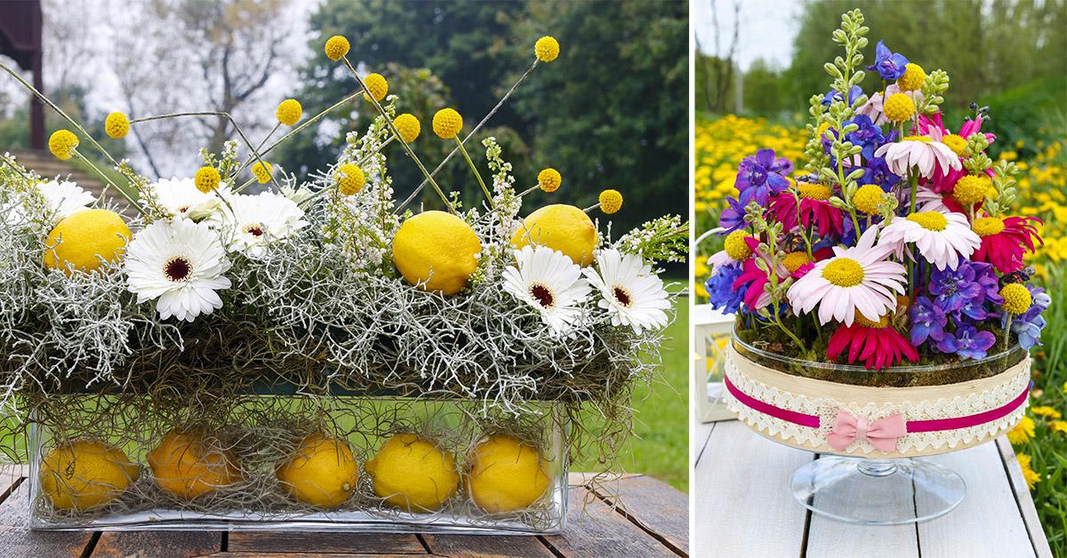 Centrotavola per Ferragosto realizzato con coloratissimi fiori stagionali: lasciatevi ispirare