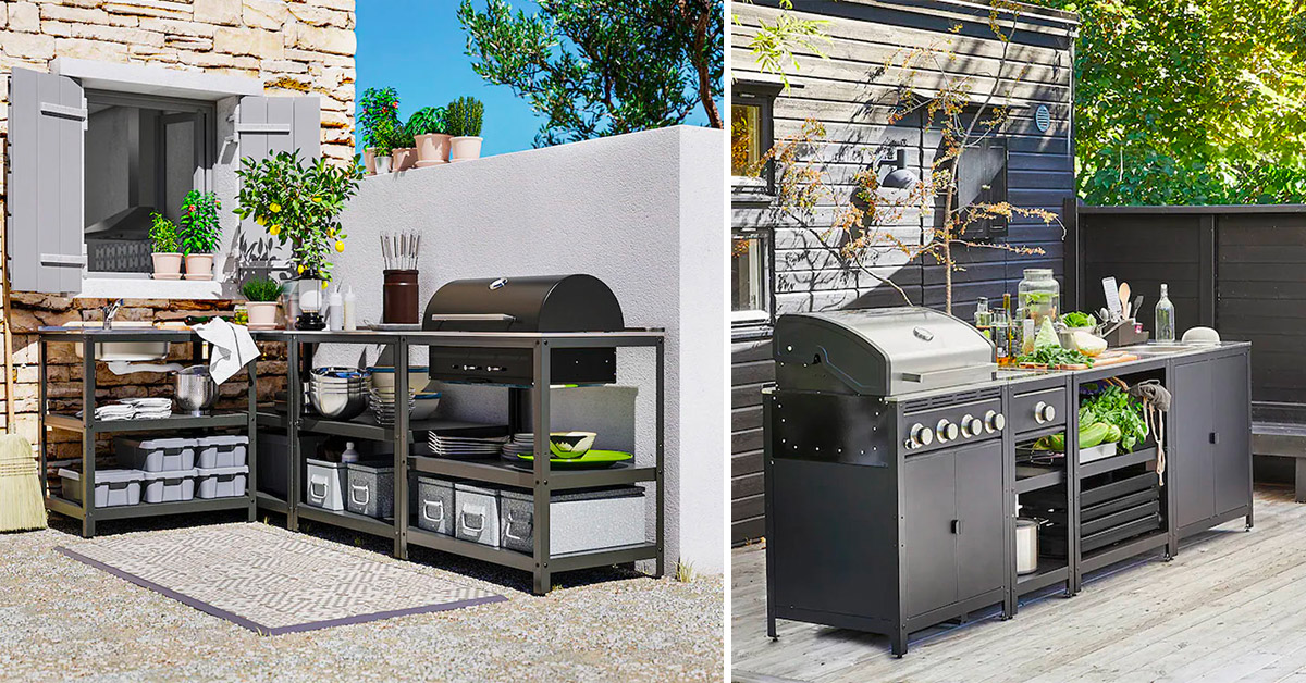 Idea per arredare il giardino con un angolo cucina da esterno firmata Ikea
