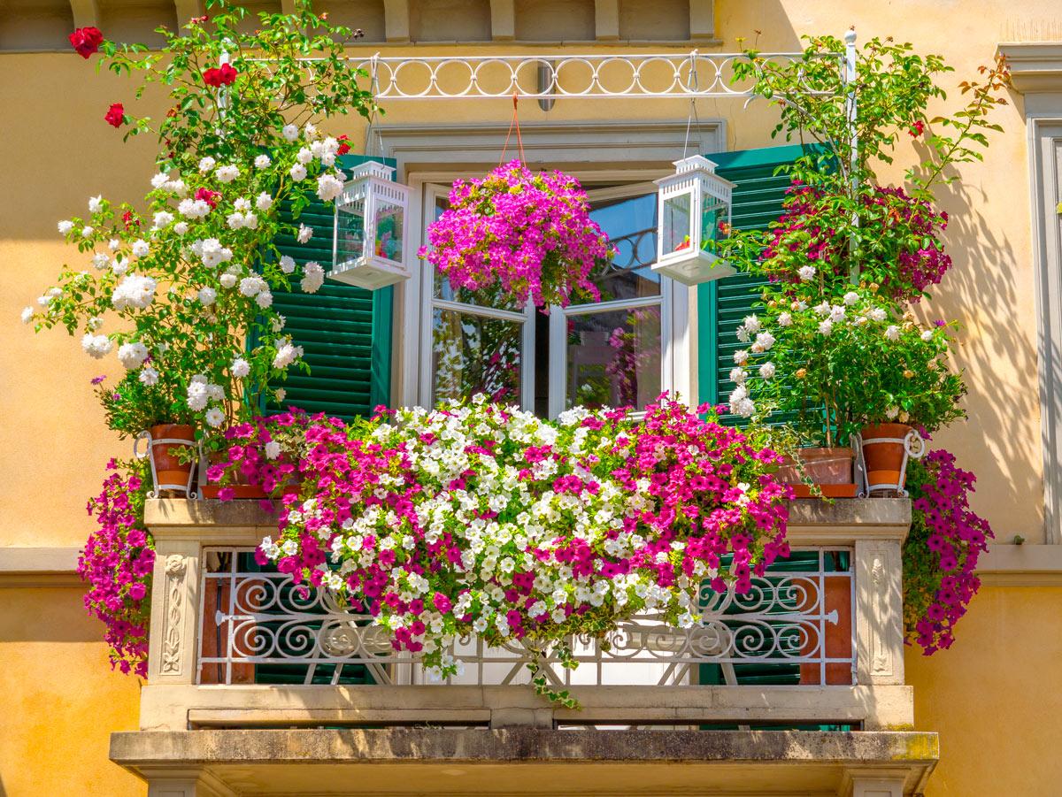Idee originali per decorare la ringhiera del balcone in estate