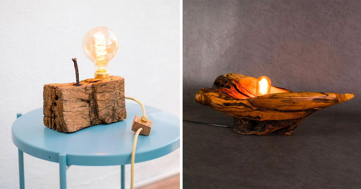 Idee lampade realizzate con legno riciclato