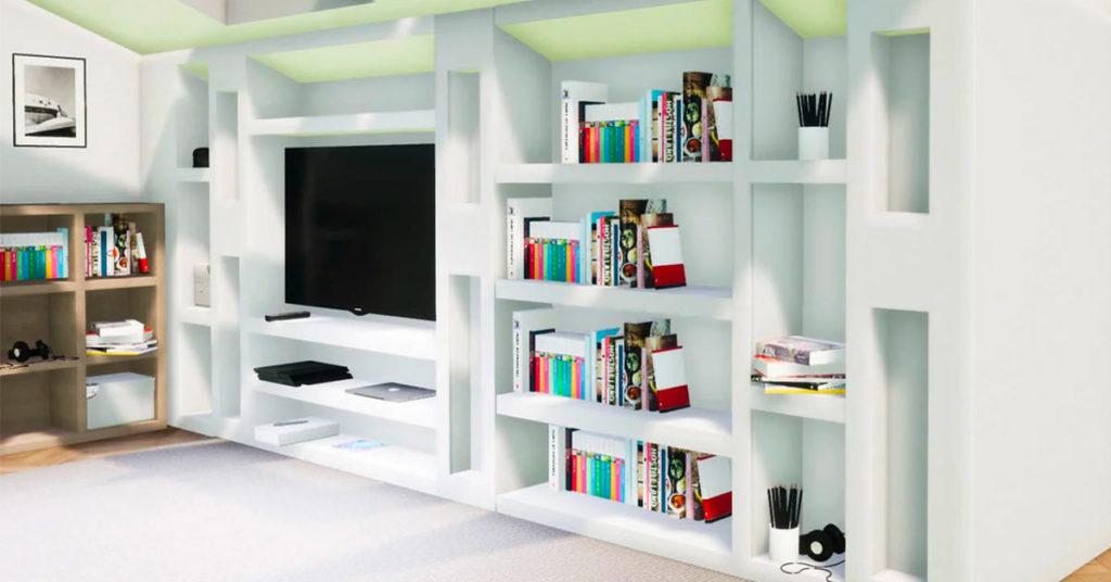 esempio parete televisore in cartongesso