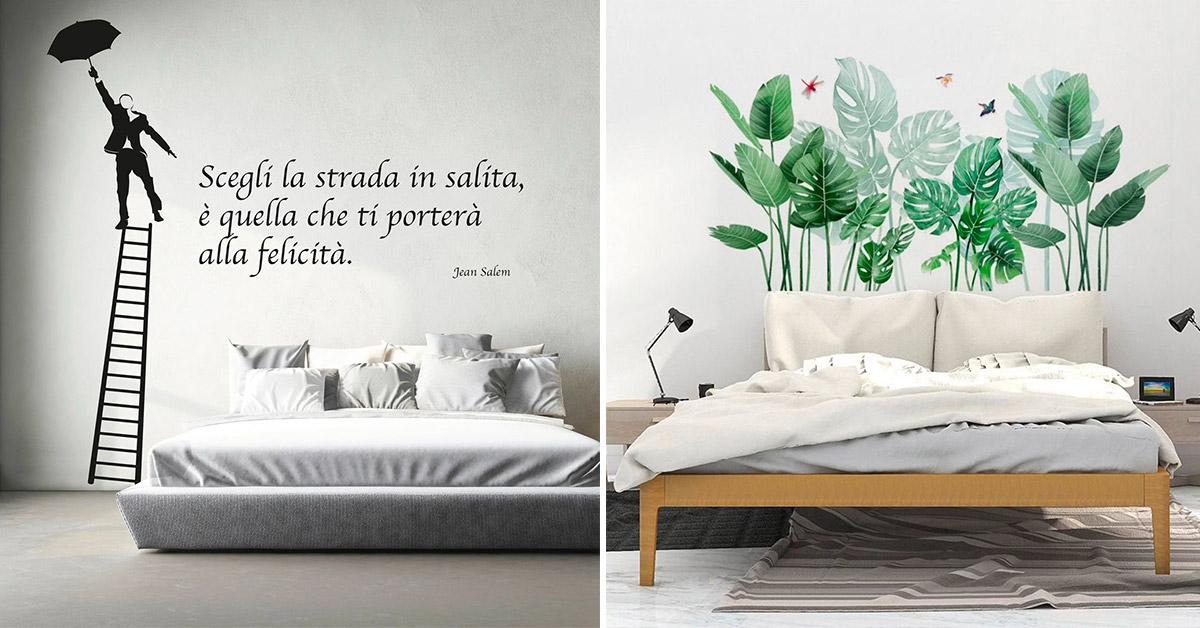 Decorare la parete dietro il letto con le testiere letto adesive