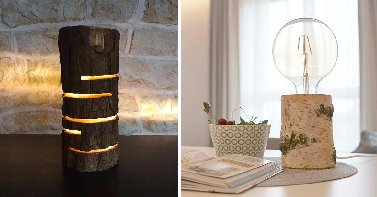 lampade realizzate con tronchi