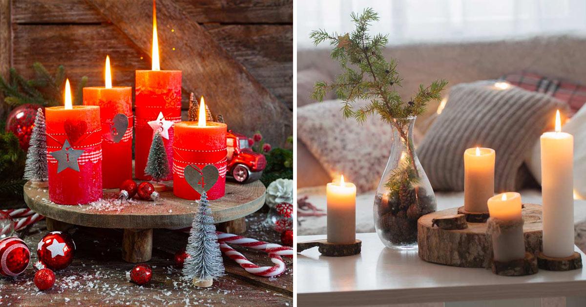 Centrotavola di Natale con le candele.