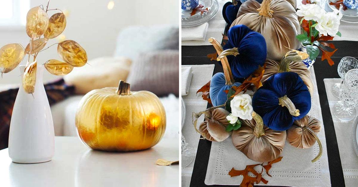 Luxury Halloween: zucche decorate in modo chic.