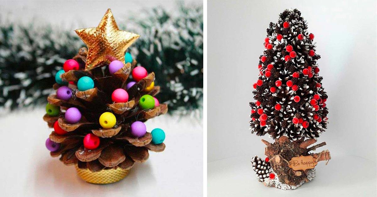 albero decorazione natale con pigne