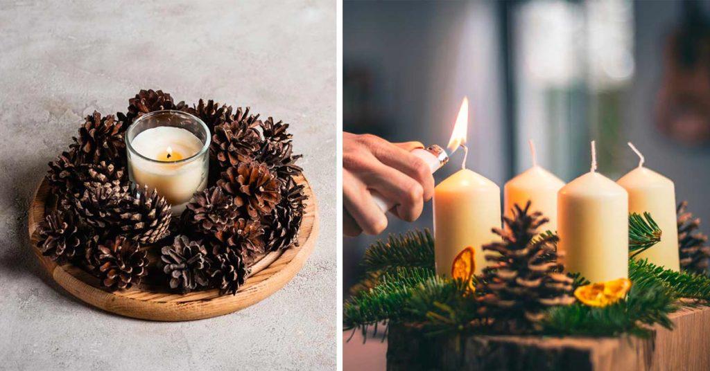 Centrotavola con pigne e candele