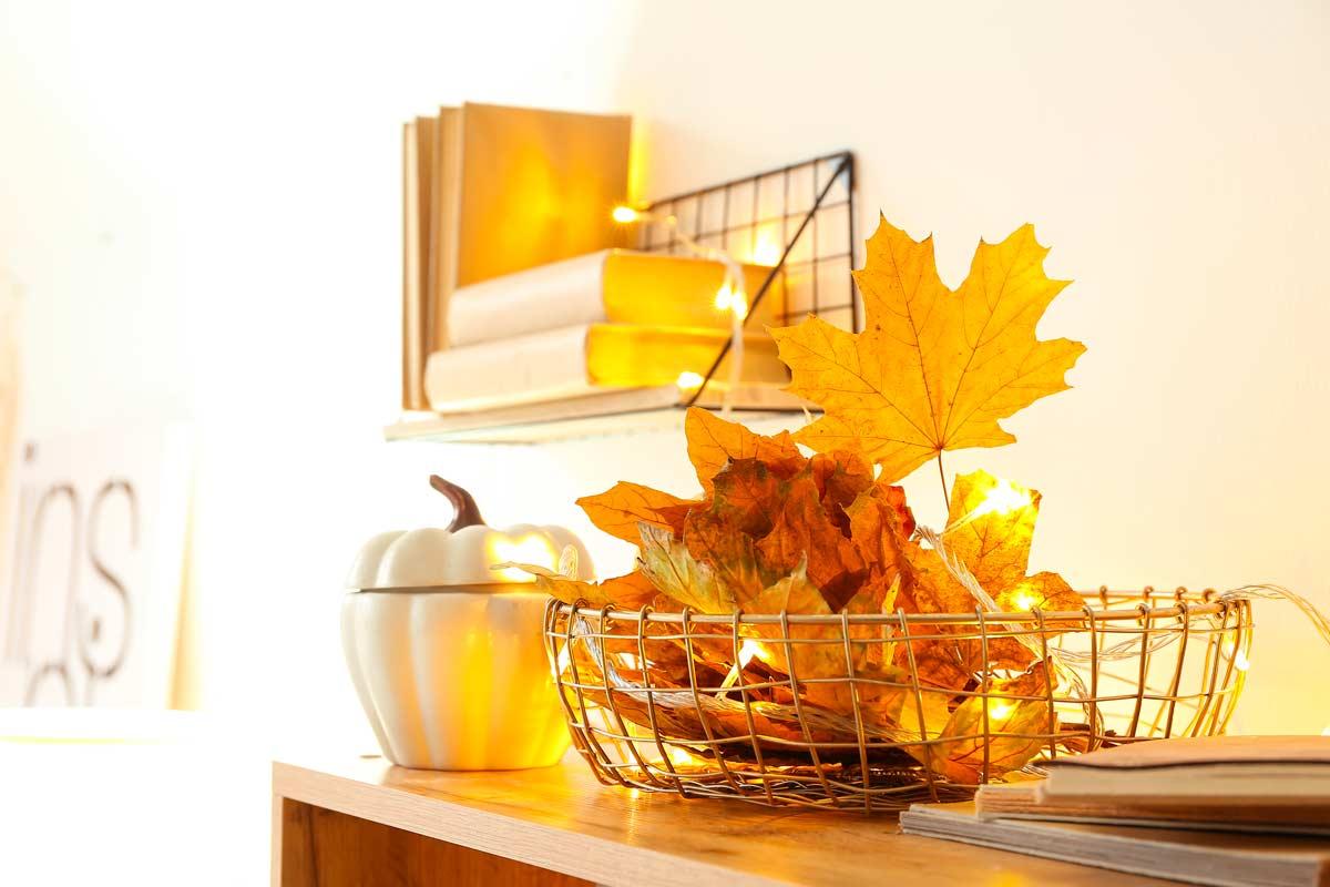 composizione autunnale con le foglie secche