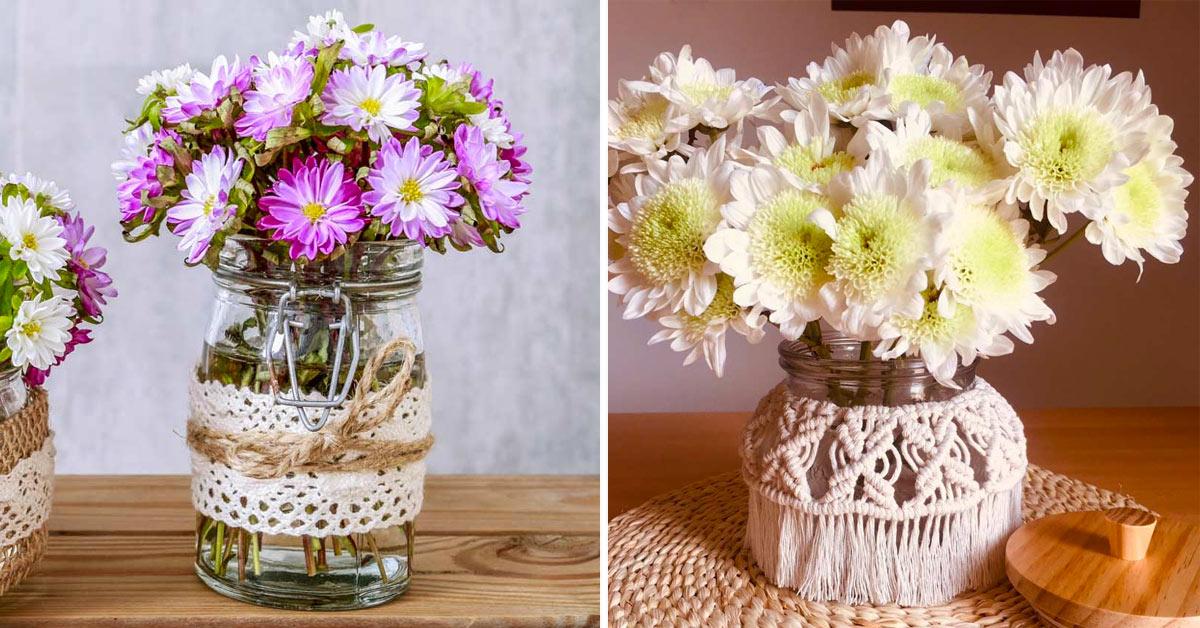 Composizioni floreali con i crisantemi.